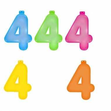 Gekleurde cijfer 4 opblaasletter