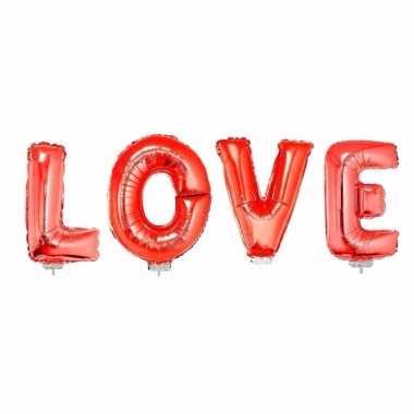Love in rood inclusief stokjes opblaasletter